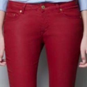 Zara Mid Rise Red/Maroon Jean